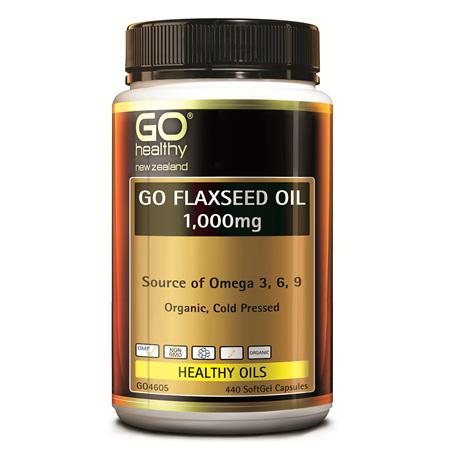 GO FLAXSEED OIL 1,000MG - NZ ORGANIC CERTIFIED (440 CAPS)