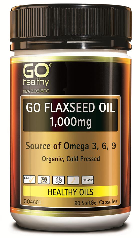 GO FLAXSEED OIL 1,000mg - NZ Organic Certified (90 caps)