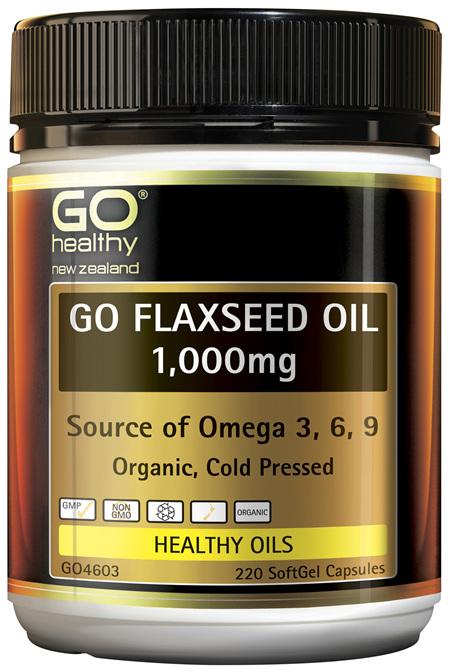GO Flaxseed Oil 1,000mg Organic 220 Caps
