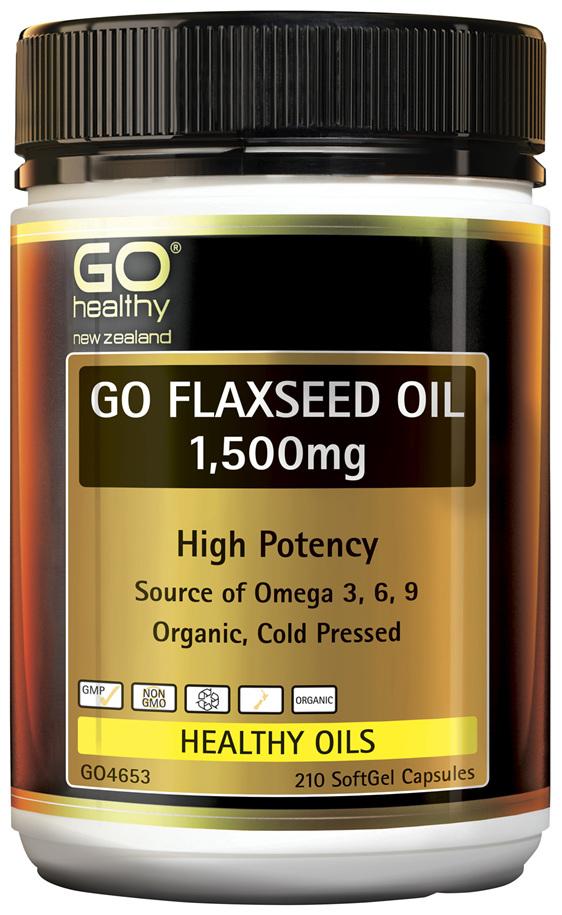 GO Flaxseed Oil 1,500mg Organic 210 Caps