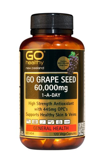 GO GRAPE SEED 60,000mg 1-A-Day - High Strength Antioxidant (120 Vcaps)