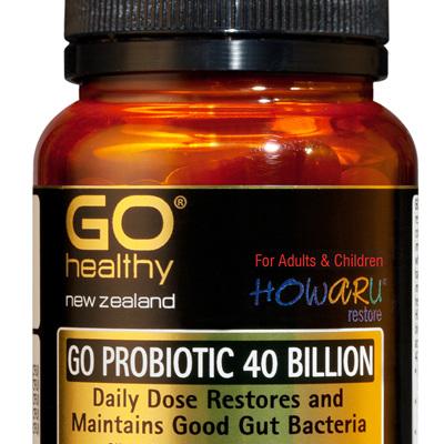 GO PROBIOTIC 40 BILLION - HOWARU Restore (Shelf Stable Probiotics) (30 Vcaps)