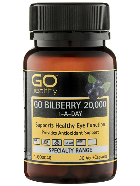 GO Healthy GO Bilberry 20,000 1-A-Day VegeCapsules 30 Pack