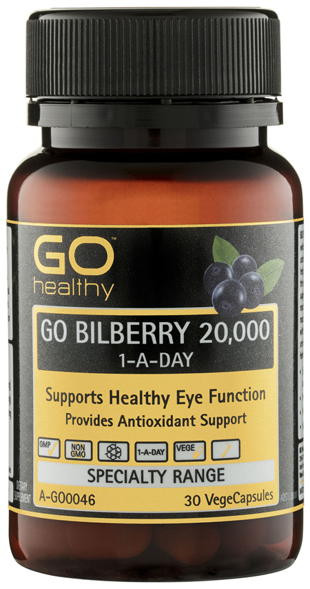 GO Healthy GO Bilberry 20,000 1-A-Day VegeCapsules 30 Pack