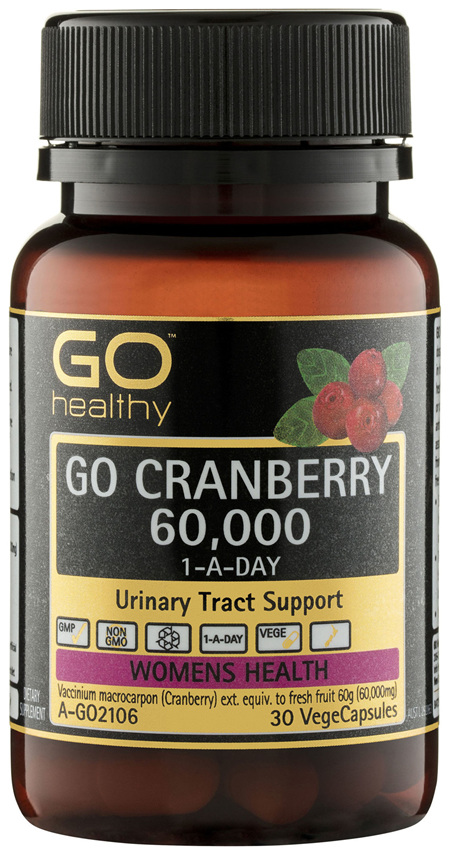 GO Healthy GO Cranberry 60,000 1-A-Day VegeCapsules 30 Pack