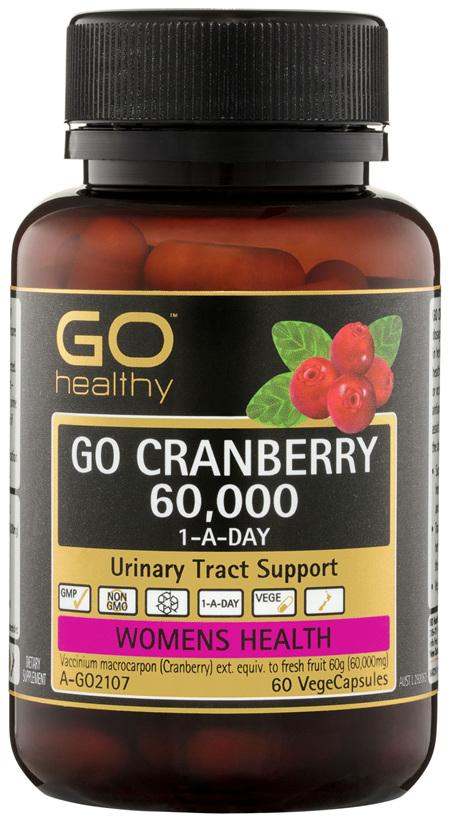 GO Healthy GO Cranberry 60,000 1-A-Day VegeCapsules 60 Pack