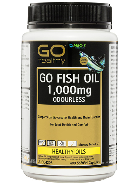 GO Healthy GO Fish Oil 1,000mg Odourless SoftGel Capsules 400 Pack