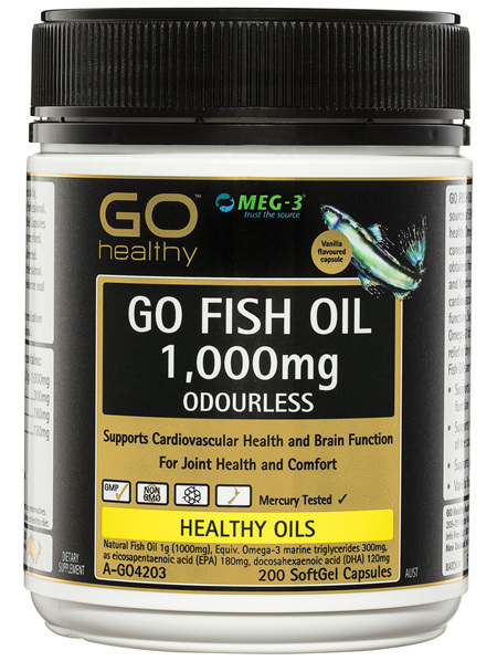 GO Healthy GO Fish Oil 1,000mg Odourless SoftGel Capsules 200 Pack