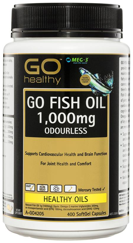 GO Healthy GO Fish Oil 1,000mg Odourless SoftGel Capsules 400 Pack