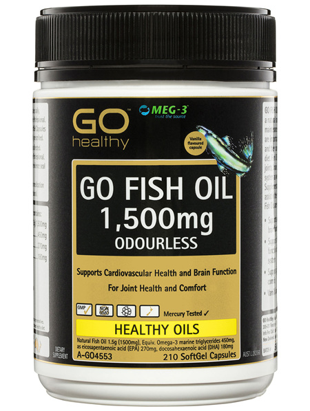 GO Healthy GO Fish Oil 1,500mg Odourless SoftGel Capsules 210 Pack