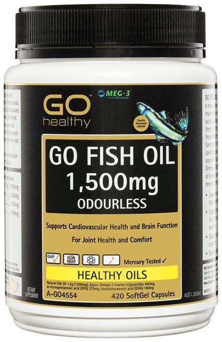 GO Healthy GO Fish Oil 1,500mg Odourless SoftGel Capsules 420 Pack
