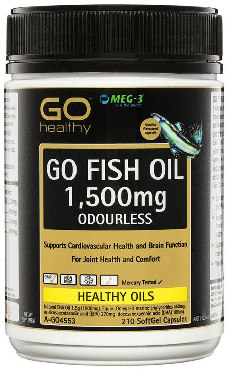 GO Healthy GO Fish Oil 1,500mg Odourless SoftGel Capsules 210 Pack