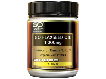 GO Healthy GO Flaxseed Oil 1000mg NZ Organic Certified 220 Capsules