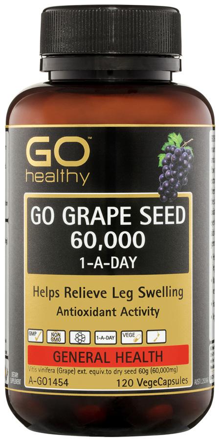 GO Healthy GO Grape Seed 60,000 1-A-Day VegeCapsules 120 Pack