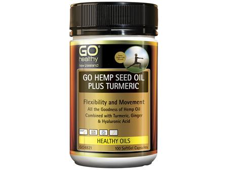 GO Healthy GO Hemp Seed Oil Plus Tumeric 100 SoftGel Capsules