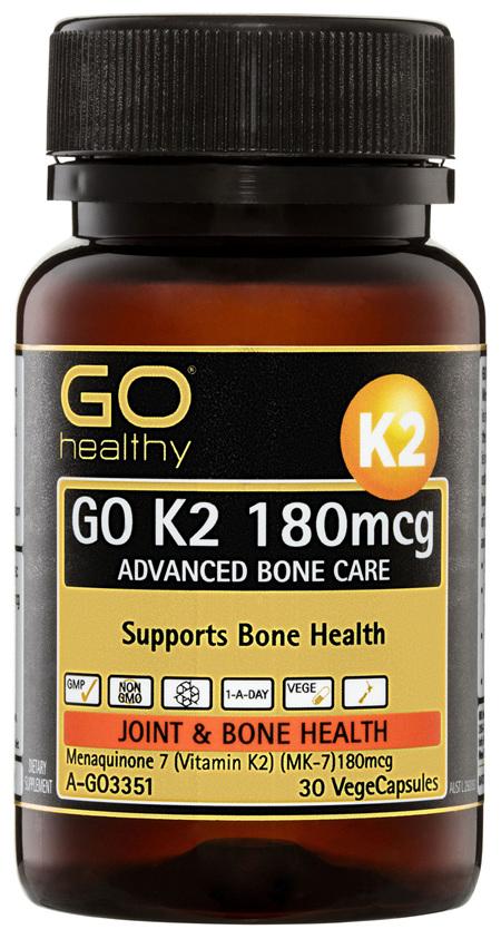 GO Healthy GO K2 180mcg Advanced Bone Care VegeCapsules 30 Pack