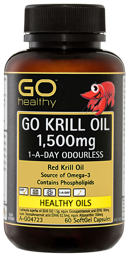 GO Healthy GO Krill Oil 1,500mg 1-A-Day Odourless SoftGel Capsules 60 Pack