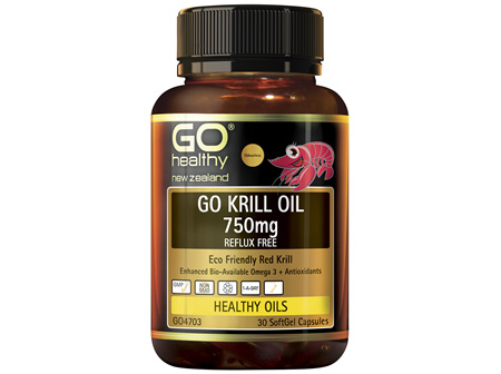 GO Healthy GO Krill Oil 750mg Enhanced BioAvailable Omega 3 30 Capsules