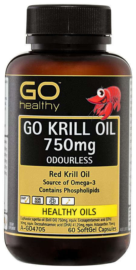 GO Healthy GO Krill Oil 750mg Odourless SoftGel Capsules 60 Pack