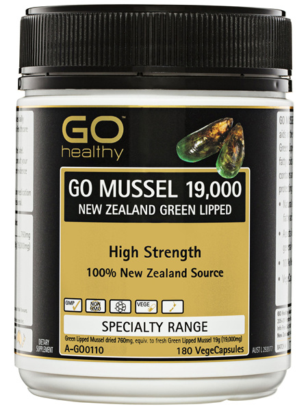 GO Healthy GO Mussel 19,000 New Zealand Green Lipped VegeCapsules 180 Pack