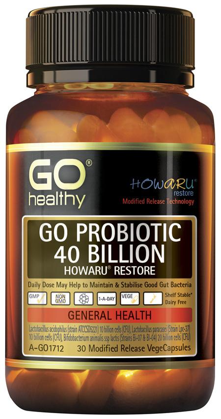 GO Healthy GO Probiotic 40 Billion Howaru Restore 30 Modified Release VegeCapsules