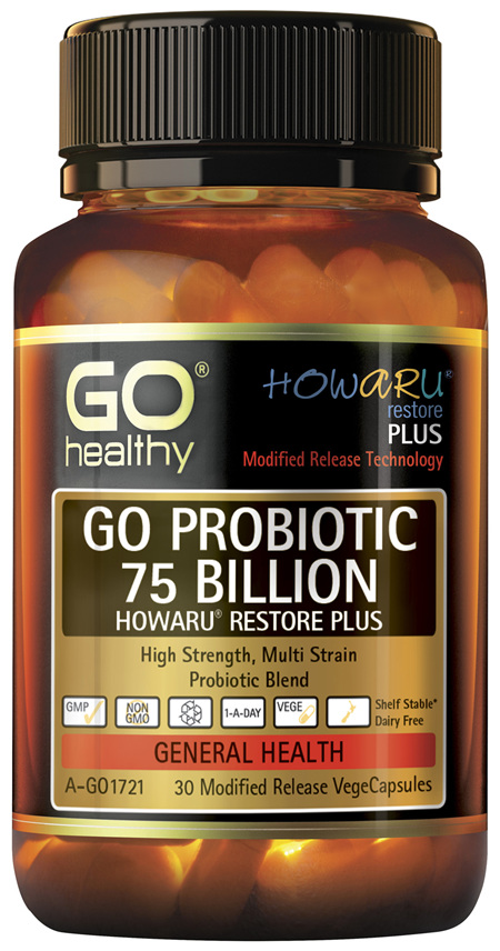 GO Healthy GO Probiotic 75 Billion Howaru Restore Plus 30 Modified Release VegeCapsules