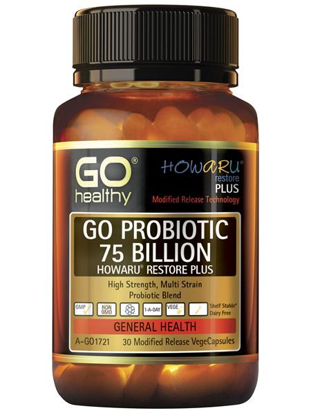 GO Healthy GO Probiotic 75 Billion Howaru Restore Plus 30 Modified Release VegeCapsules