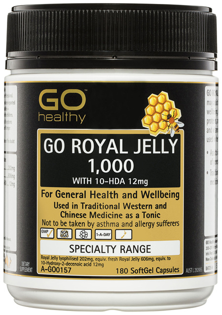 GO Healthy GO Royal Jelly 1,000 with 10-HDA 12mg SoftGel Capsules 180 Pack