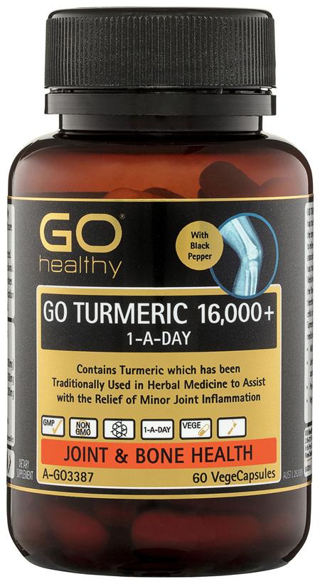 GO Healthy GO Turmeric 16,000+ 1-A-Day VegeCapsules 60 Pack
