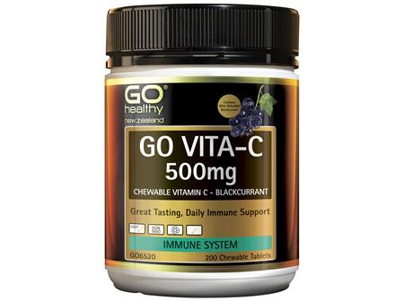 GO Healthy GO Vita-C 500mg Blackcurrant 200 Chewable Tablets