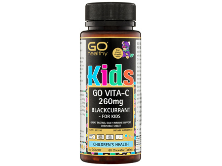 GO Healthy GO Vitamin C 260mg Blackcurrant - For Kids Chewable Tablets 60 Pack