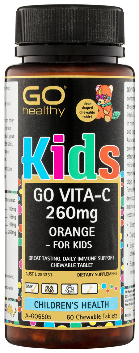 GO Healthy GO Vitamin C 260mg Orange - For Kids Chewable Tablets 60 Pack