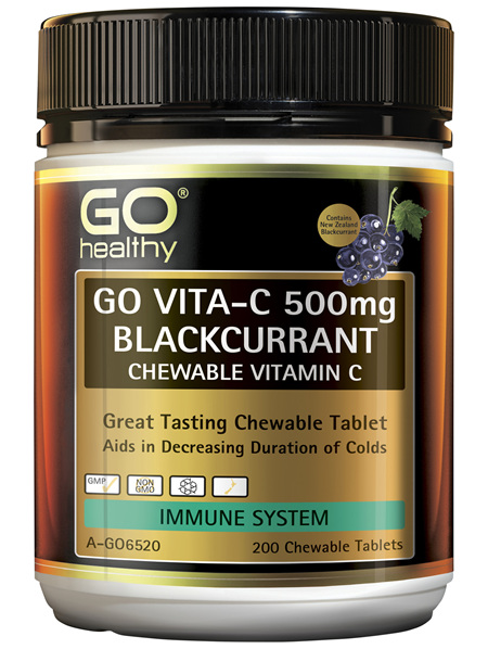 GO Healthy GO Vitamin C 500mg Blackcurrant Chewable Vitamin C 200 Tablets