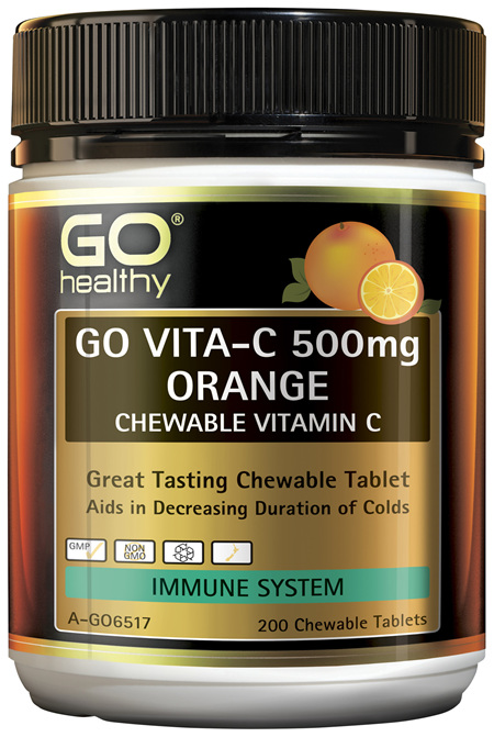 GO Healthy Go Vitamin C 500mg Orange Chewable Vitamin C 200 Tablets