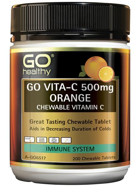 GO Healthy Go Vitamin C 500mg Orange Chewable Vitamin C 200 Tablets