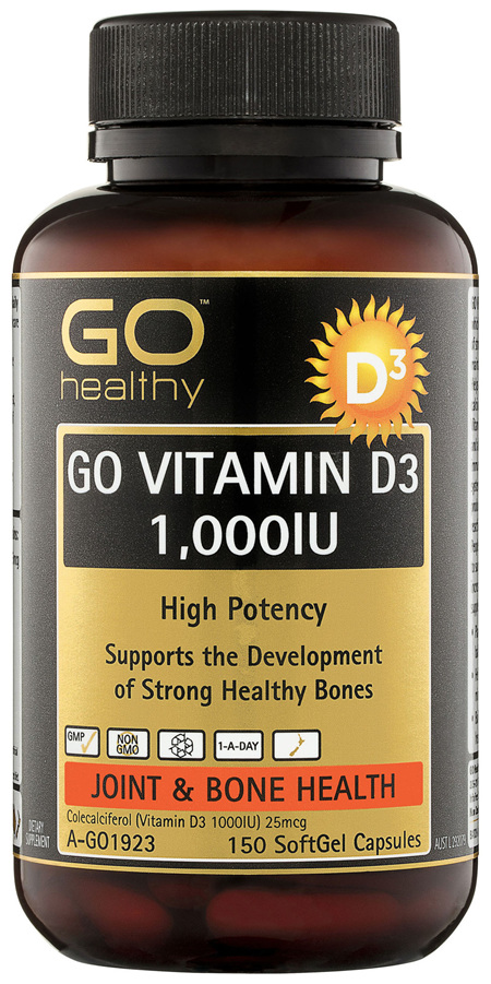 GO Healthy GO Vitamin D3 1000IU SoftGel Capsules 150 Pack