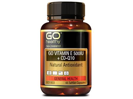 GO Healthy GO Vitamin E 500IU + CO-Q10 65 Softgel Capsules