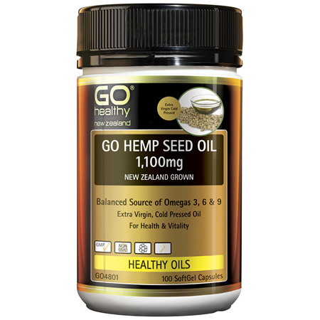 GO Hemp Seed Oil 1,100mg New Zealand Grown 100 Caps
