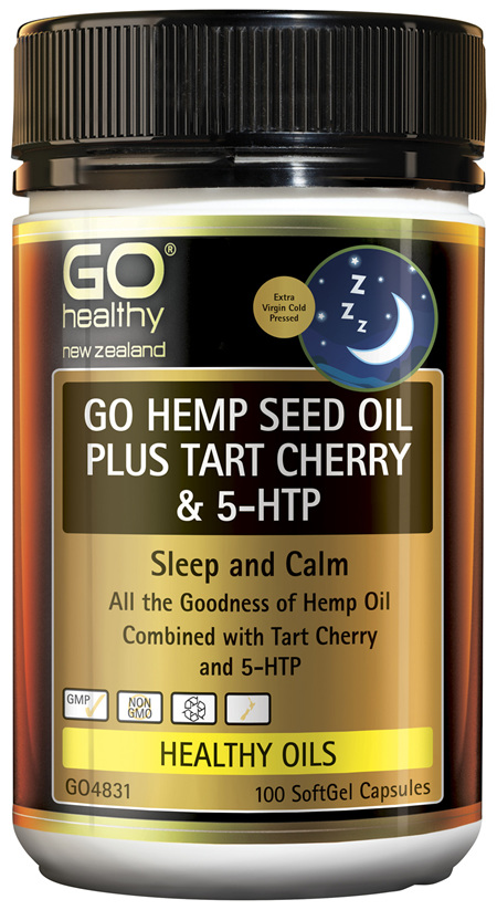 GO Hemp Seed Oil Plus Tart Cherry & 5HTP 100 Caps