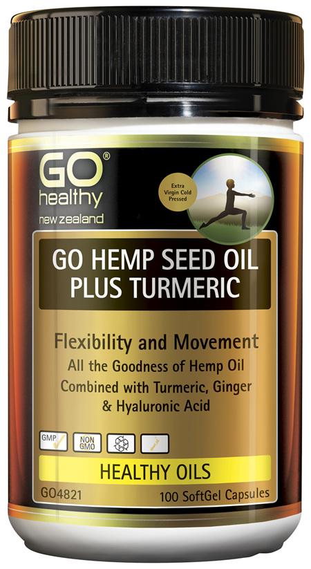 GO Hemp Seed Oil Plus Turmeric 100 Caps