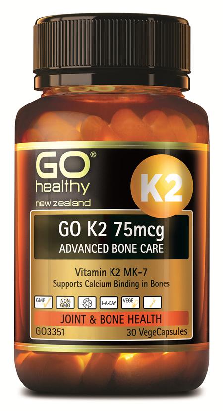 GO K2 75MCG  ADVANCED BONE CARE - SUPPORTS CALCIUM BINDING IN BONES (30 VCAPS)