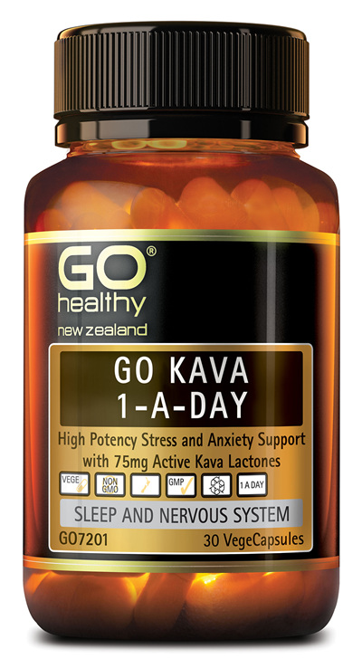 GO KAVA 1-A-DAY - High Potency Stress & Anxiety Support (30 Vcaps)