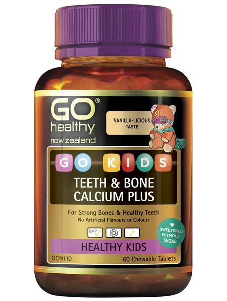 GO Kids Teeth & Bone Calcium Plus 60 Chew Tabs