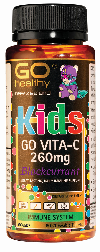 GO KIDS VITA-C 260mg BLACKCURRANT - Chewable Bears (60 C-tabs)