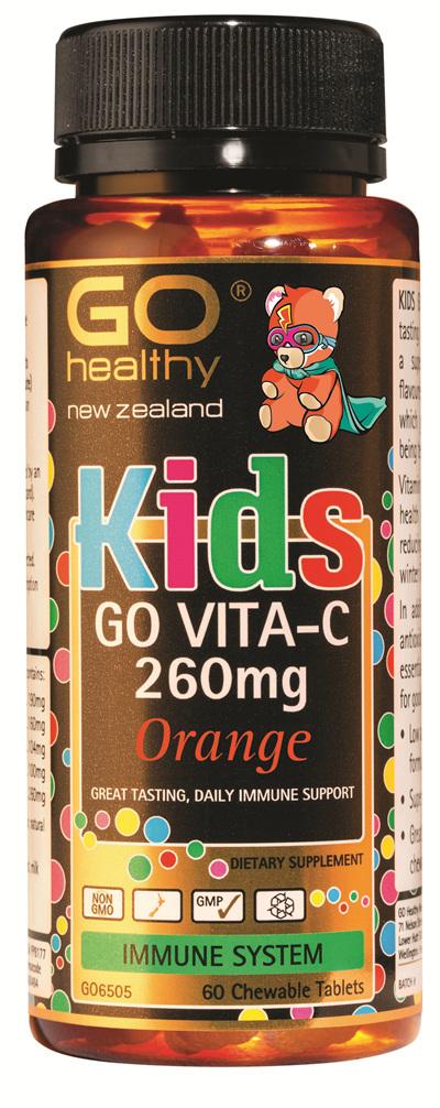 GO KIDS VITA-C 260mg ORANGE - Chewable Bears (60 C-tabs)