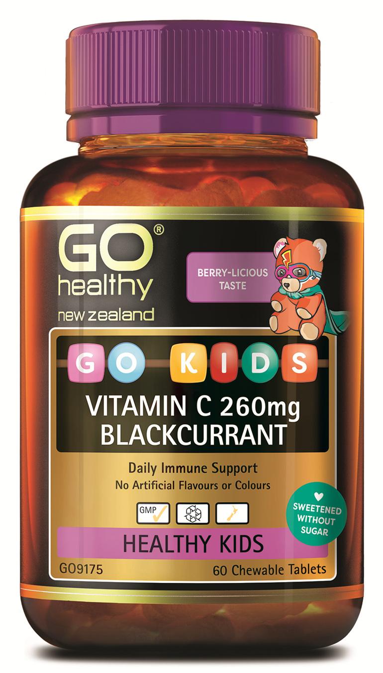 GO Kids Vitamin C 260mg Blackcurrant (60 C-tabs)