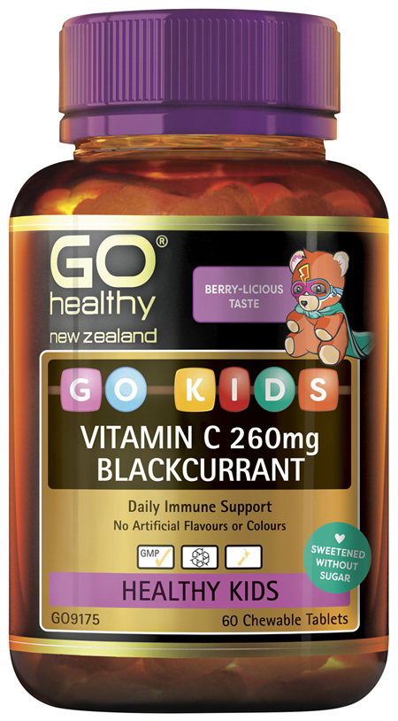 GO Kids Vitamin C 260mg Blackcurrant 60 Chew Tabs