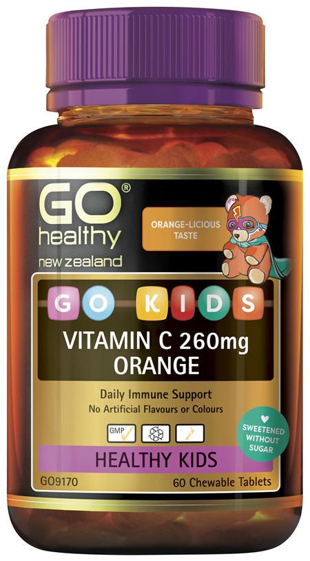 GO Kids Vitamin C 260mg Orange 60 Chew Tabs