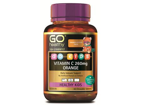 GO Kids Vitamin C 260mg Orange 60 Ctabs
