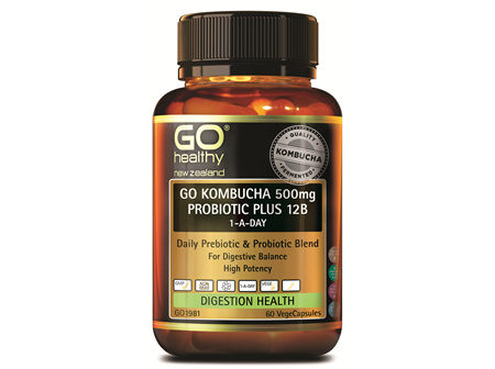 GO KOMBUCHA 500MG PROBIOTIC PLUS 12B 1-A-DAY (60VCAPS)
